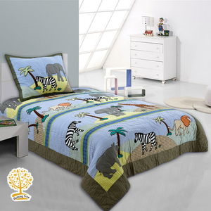 Jungle Theme - Quilted Bedspread/ Blanket For Kids With Pillowcase