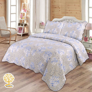 Blue And Grey Floral Print Quilted Bedspread/ Blanket With Pillow Cover Set