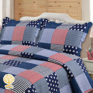 Kids Blue And Red Patchwork Quilted Bedspread/ Blanket & Pillowcase Set