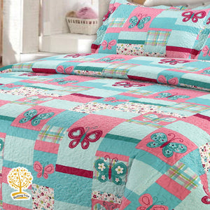 Butterfly Theme - Quilted Bedspread/ Blanket for Kids With Pillowcase Set