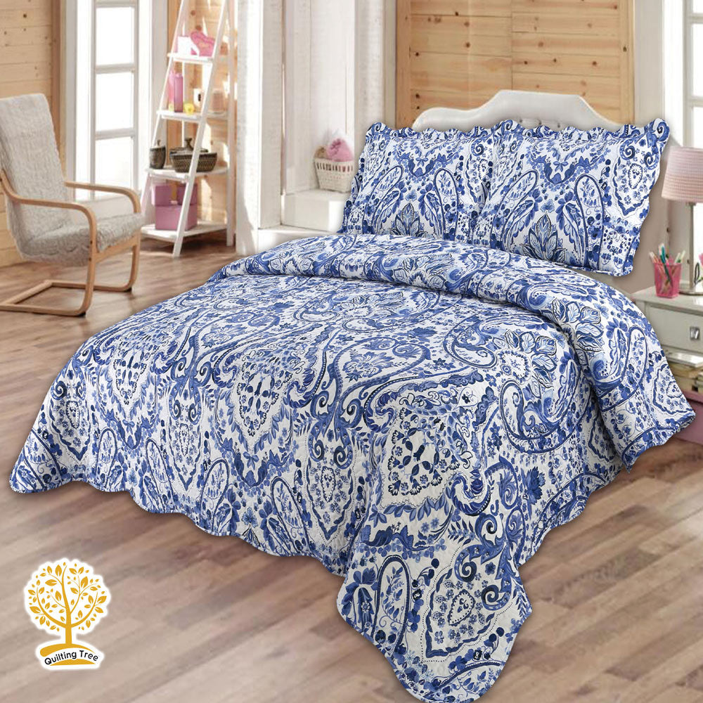 Luxury Navy Blue Quilt With Geometric Print - 3 Piece Quilt Set ... : navy blue quilt - Adamdwight.com