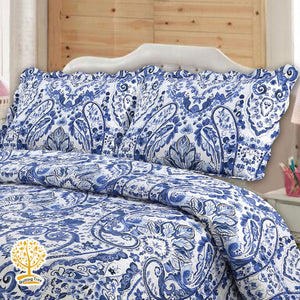 Luxury Navy Blue Quilted Bedspread/ Blanket With Pillow Cover Set