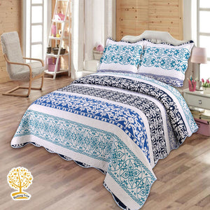 Blue Quilted Bedspread/ Blanket With Pillow Cover Set