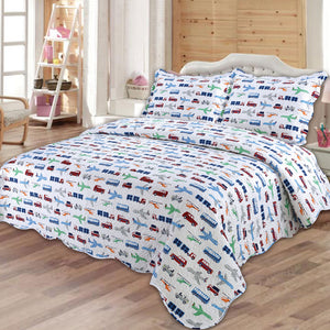 Kids Boys Bedding Set Cars Vehicles Duvet Cover by Quilting Tree