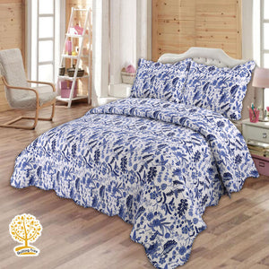 Navy Blue Flower Quilted Bedspread/ Blanket With Pillow Cover Set