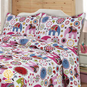 Colorful Baby Elephant Quilted Bedspread/ Blanket For Kids With Pillowcase