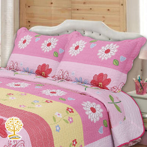 Cute Pink Floral Patchwork Quilted Bedspread/ Blanket & Pillowcase Set