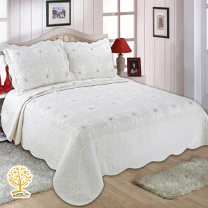 White Floral Embroidery Pattern Quilted Bedspread With Pillow Cover Set
