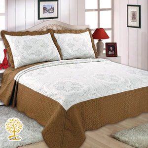 White And Brown Color Embroidery Pattern Quilted Bedspread With Pillow Cover Set