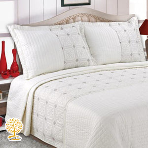 White And Grey Geometric Embroidery Pattern Quilted Bedspread With Pillow Cover Set