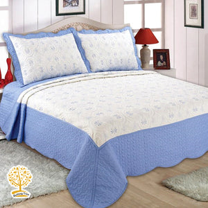 White and Blue Geometric Embroidery Pattern Quilted Bedspread With Pillow Cover Set