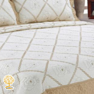 Coffee Cream And Beige Color Embroidery Pattern Quilted Bedspread With Pillow Cover Set