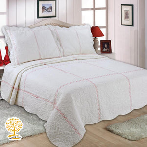 White And Pink Color Embroidery Pattern Quilted Bedspread With Pillow Cover Set