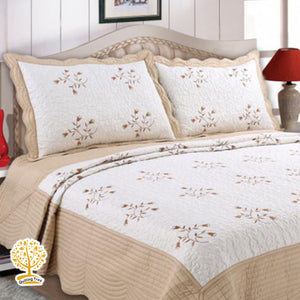 Cream And Beige Color Embroidery Pattern Quilted Bedspread With Pillow Cover Set