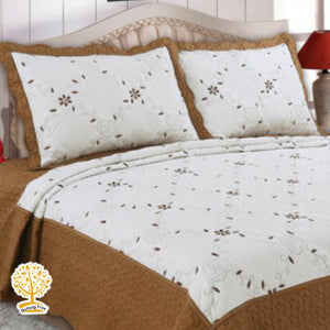 White And Coffee Brown Color Embroidery Pattern Quilted Bedspread With Pillow Cover Set