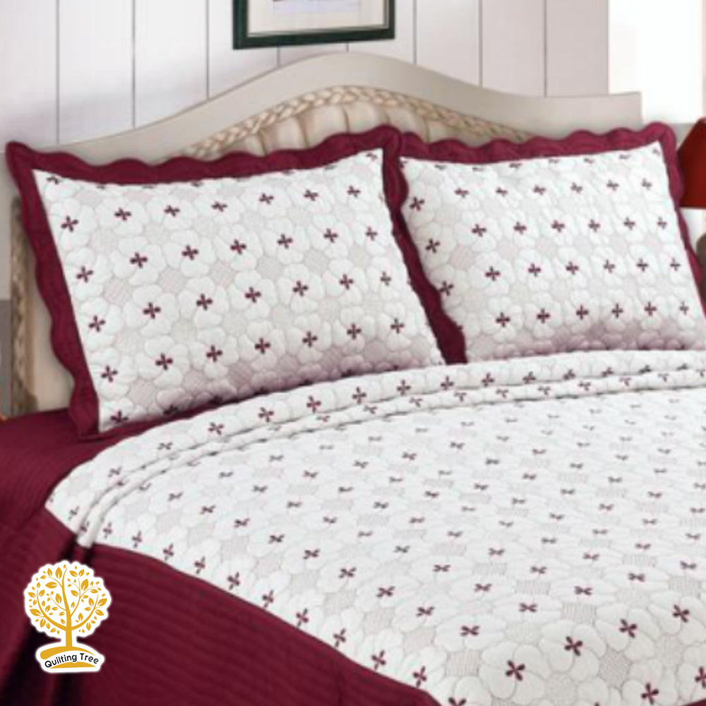 Maroon Quilt - White And Maroon Color Floral Print 3 Piece Quilt Set ...