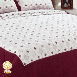 White And Maroon Color Embroidery Pattern Quilted Bedspread With Pillow Cover Set