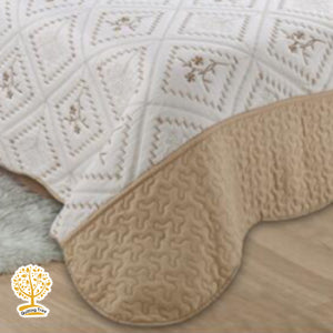 Coffee Cream and Beige Embroidery Pattern Quilted Bedspread With Pillow Cover Set