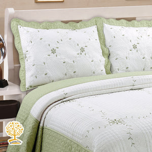 White And Green Embroidery Pattern Quilted Bedspread With Pillow Cover Set