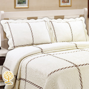 Off White Embroidery Pattern Quilted Bedspread With Pillow Cover Set