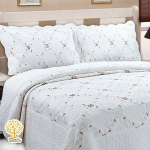 White Color Floral Embroidery Pattern Quilted Bedspread With Pillow Cover Set