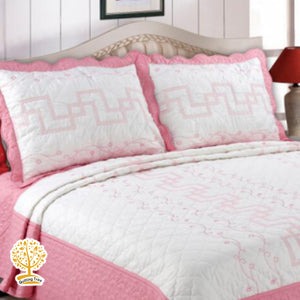 White And Pink Embroidery Pattern Quilted Bedspread With Pillow Cover Set