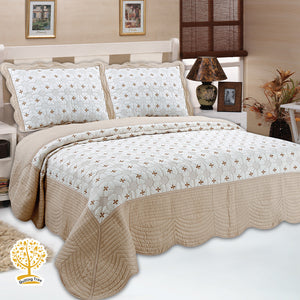 Beige And Coffee Cream Color Embroidery Pattern Quilted Bedspread With Pillow Cover Set