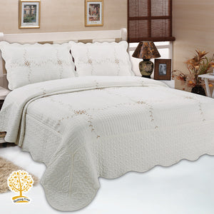 Lily White Jacquard Embroidery Pattern Quilted Bedspread With Pillow Cover Set