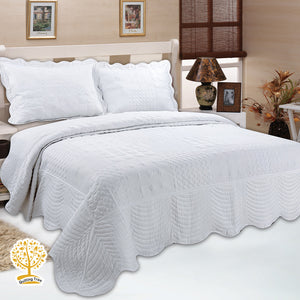 White Geometric Embroidery Pattern Quilted Bedspread With Pillow Cover Set