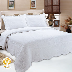White Embroidery Pattern Quilted Bedspread With Pillow Cover Set