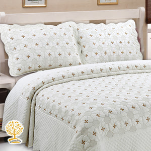 Lily White Geometric Embroidery Pattern Quilted Bedspread With Pillow Cover Set