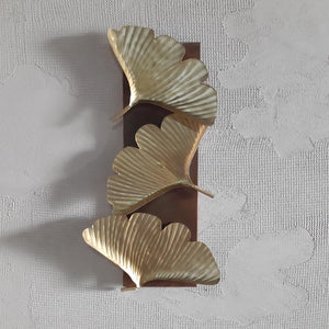 Golden Wrought Metal Leaves Wall Art