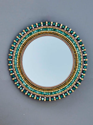 MULTICOLOUR DECORATIVE ROUND FRAMED WALL MIRROR