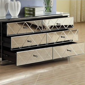 Mirrored Dressing Table, Low chest, 6 Drawer