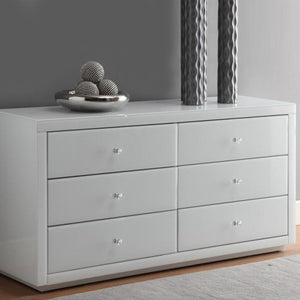 White Glass Mirrored Chest Of Drawer