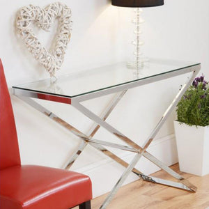 Console Table Chrome stand and Glass top