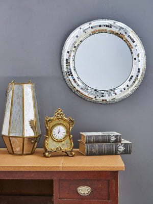 Silver Round Crackle Wall Mirror
