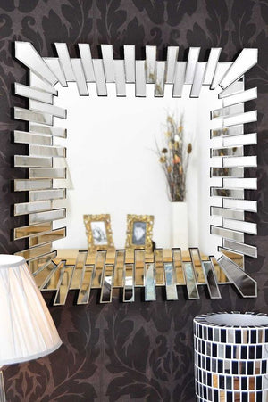 SUNBURST ACCENT SQUARE MIRROR