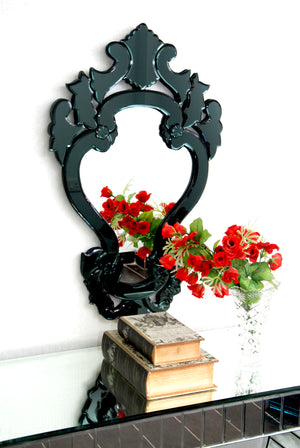 CLASSIC CROWN BLACK FRAME VENETIAN WALL MIRROR