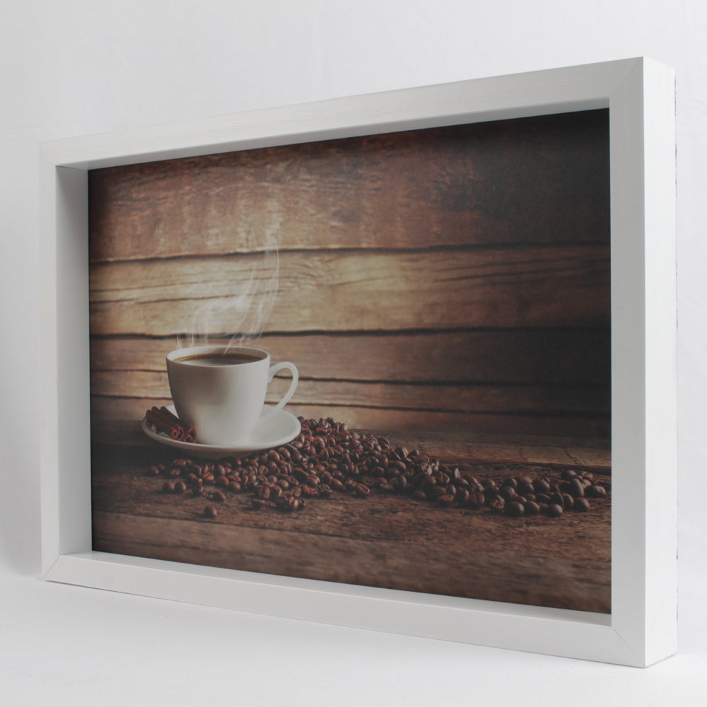 white coffee cup spilled coffee beans themed serving tray all