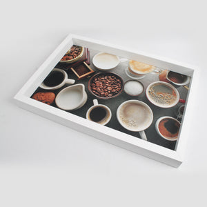 White Coffee Mugs & Coffee Beans Themed Serving Tray