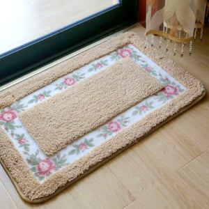 Brown Color Flower  Welcome Doormat