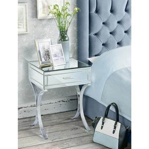 MIRRORED & CHROME BEDSIDE TABLE