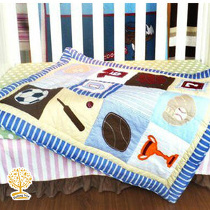 Sports Theme - 100% Cotton Super Soft Baby Quilt / Babysheet