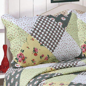 Floral Patchwork Quilt Single Piece With Two Pillow Cover