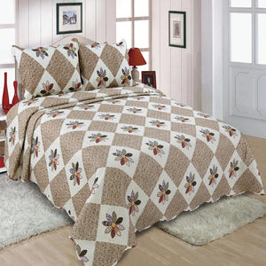 Brown Floral Patchwork Quilt Single Piece With Two Pillow Cover