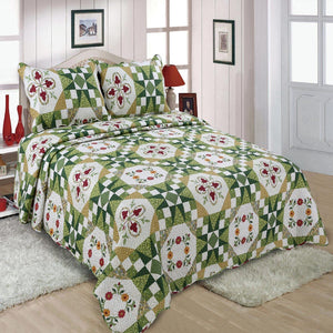 Green Floral Patchwork Quilt Single Piece