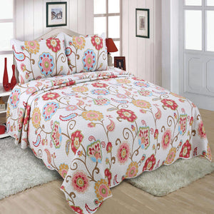 Multi Color  Floral  Single Quilt With Two Pillow Cover