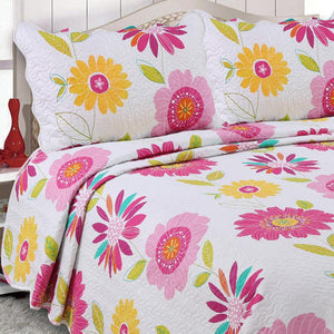 Pink and Yellow Floral Print Quilt Single Piece