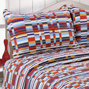 Multi Color Stripes Patchwork Print Quilt With Two Pillow Cover